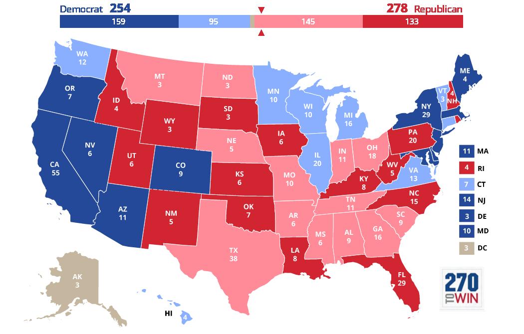 2020 Electoral College Map Update Connecticut Minnesota